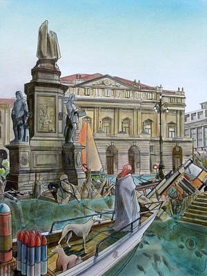 Nike Painting - City Of Milan In Italy Under Water by Fabrizio Cassetta