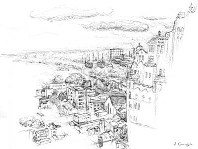 Arial Drawing - City Scape Philadelphia Pa by Elizabeth Carrozza