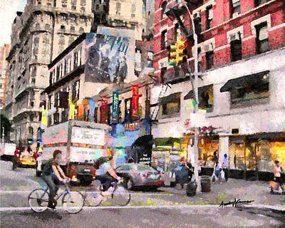 Shoping Digital Art - City Street Scene by Anthony Caruso