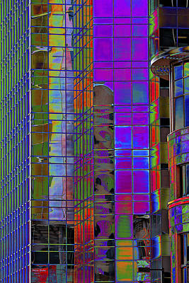 City Windows Abstract Pop Art Colors Print by Phyllis Denton