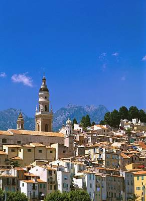 Menton Photograph - Cityscape With Church Bell Tower by Axiom Photographic