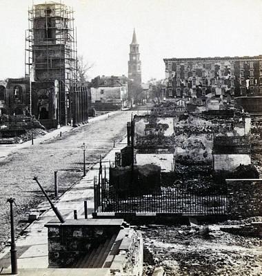 Civil War Damaged Charleston South Carolina - Meeting Street - C 1865 Print by International  Images