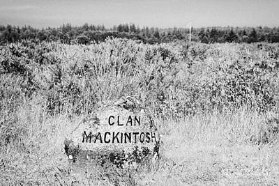 clan mackintosh memorial stone on Culloden moor battlefield site highlands scotland Print by Joe Fox