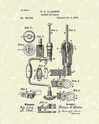 Woodworking Print featuring the drawing Clarkson Bit Brace 1883 Patent Art  by Prior Art Design