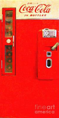 Long Size Digital Art - Classic Coke Dispenser Machine . Type 2 . Long Cut by Wingsdomain Art and Photography