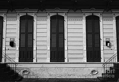 Classic French Quarter Residence New Orleans Black And White Poster Edges Digital Art Print by Shawn O'Brien
