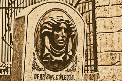 Haunted Mansion Digital Art - Classic Leota Moving Eyes Headstone Haunted Mansion Magic Kingdom Walt Disney World Prints Rustic by Shawn O'Brien