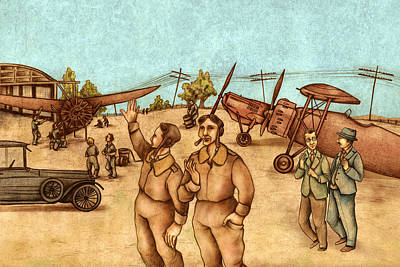 Large Drawing - Classical Planes 2 by Autogiro Illustration