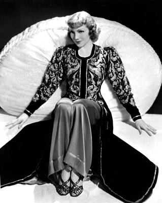 Claudette Colbert, In A Travis Banton Print by Everett