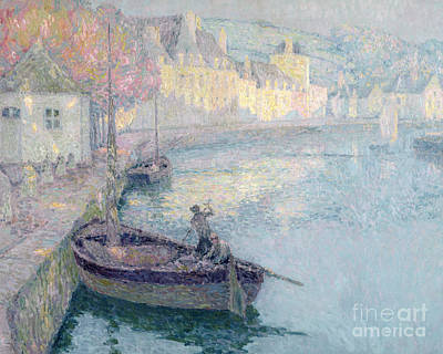 Harbour Painting - Clear Morning - Quimperle by Henri Eugene Augustin Le Sidaner