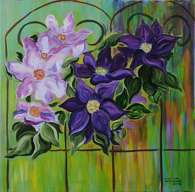 Clematis Painting - Clematis In Bloom by Dani Altieri Marinucci