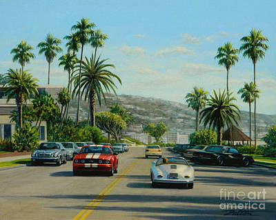 Ford Mustang Painting - Cliff Drive Laguna by Frank Dalton