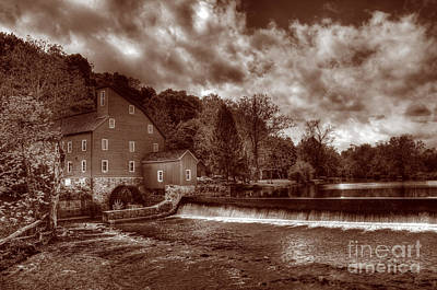 Clinton Red Mill House Sepia Print by Lee Dos Santos