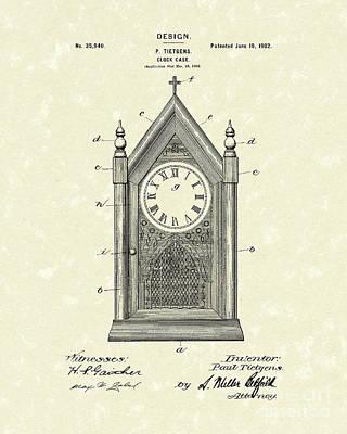 Clock Drawing - Clock Case Design 1902 Patent Art by Prior Art Design