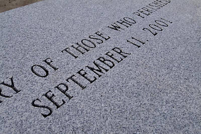 Terrorism Photograph - Close-up Of Granite Bench Dedicated by Todd Gipstein