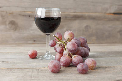 Bunch Of Grapes Photograph - Close Up Of Grapes And Glass Of Wine by Stefanie Grewel
