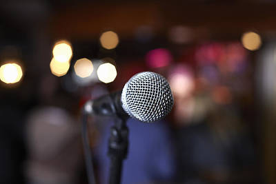 Performing Arts Event Photograph - Close Up Of Microphone On Stage In Lights by Gary John Norman
