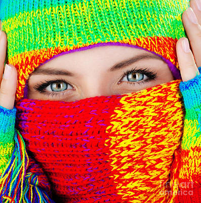 Close Up On Covered Face With Blue Eyes Print by Anna Om