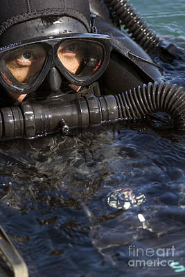 Close-up View Of A U.s. Navy Seal Print by Michael Wood