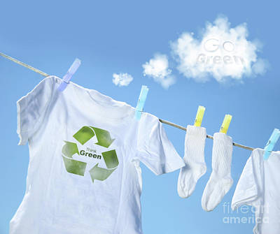 Clothes Drying On Clothesline With Go Green Sign  Print by Sandra Cunningham