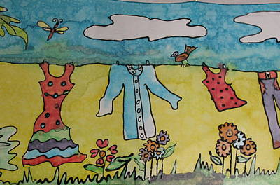 Clothesline Print by Yvonne Feavearyear