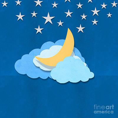 Cloud Moon And Stars Design Print by Setsiri Silapasuwanchai