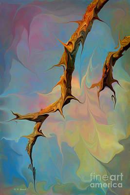 Abstarct Digital Art - Clouds And Branches Of Life by Deborah Benoit