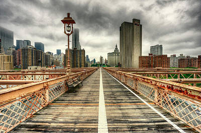 Cloudy New York From Brooklyn Bridge Print by Ixefra