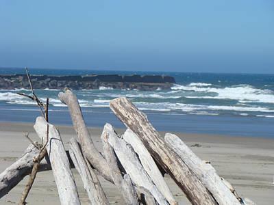 Coastal Driftwood Art Prints Blue Sky Ocean Waves Print by Baslee Troutman