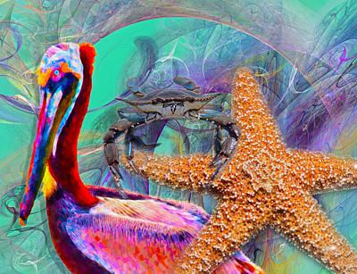 Starfish Digital Art - Coastal Life II by Betsy Knapp