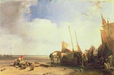 Coastal Scene In Picardy Print by Richard Parkes Bonington