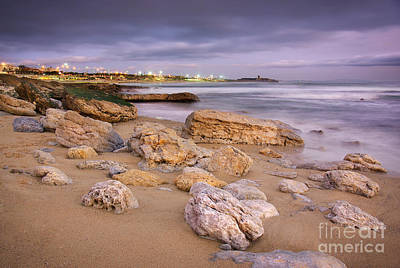 Storm Clouds Sunset Twilight Water Photograph - Coastline At Twilight by Carlos Caetano