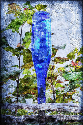 Cobalt Blue Bottle Triptych 1 Of 3 Print by Andee Design