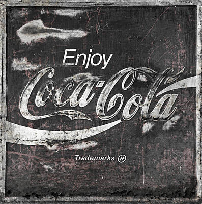 Coca-cola Sign Photograph - Coca Cola Pink Grunge Sign by John Stephens