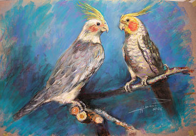Household Pastel - Coctaiel Parrots by Ylli Haruni
