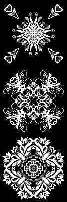 Rose Digital Art - Coffee Flowers Ornate Medallions Bw Vertical Tryptych 2 by Angelina Vick