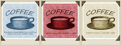 Coffee Flowers Scrapbook Triptych 1  Print by Angelina Vick