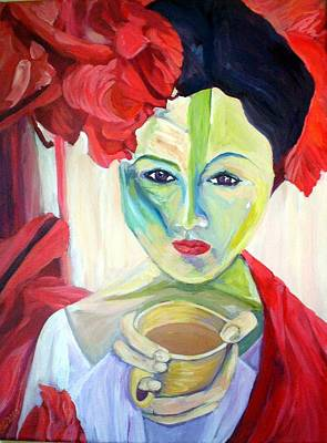 Tangerine Painting - Coffee In The Garden by Stephanie Corder