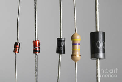 Current Control Photograph - Collection Of Electronic Components by Photo Researchers