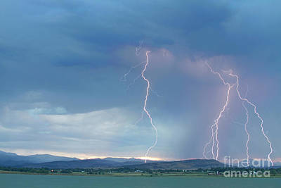 Colorado Rocky Mountains Foothills Lightning Strikes 2 Print by James BO  Insogna
