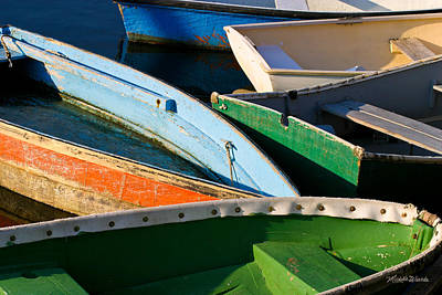 Colorful Dinghies In Rockport Massachusetts Print by Michelle Wiarda