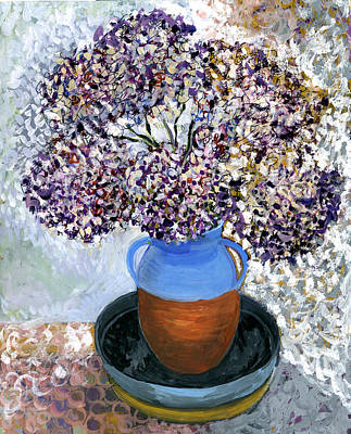 Colorful Impression Of Purple Flowers In Blue Brown Ceramic Vase Yellow Plate With Green Branches  Print by Rachel Hershkovitz