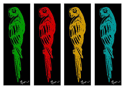 Golds Reds And Greens Digital Art - Colorful Tropical Parrot Abstract Parrot Ink Sketch Digital And Original Art By Madart by Megan Duncanson