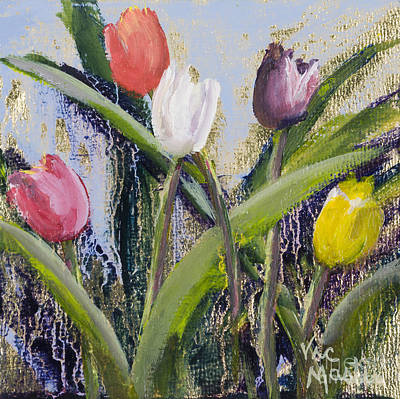 Mo Artist Painting - Colorful Tulip Series by Vic  Mastis