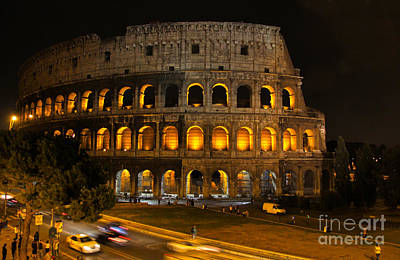 Colosseum By Night Print by Chris Hill
