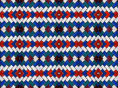 Colourful Tile Symmetry Print by Hakon Soreide