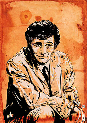 Peter Falk Drawing - Columbo by Giuseppe Cristiano