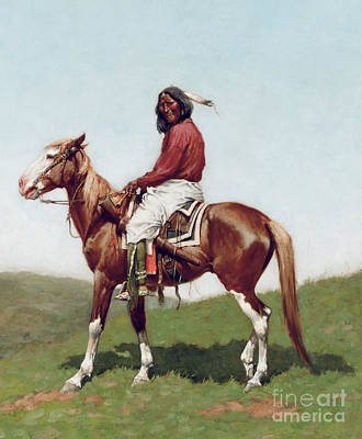 Male Horse Painting - Comanche Brave by Frederic Remington