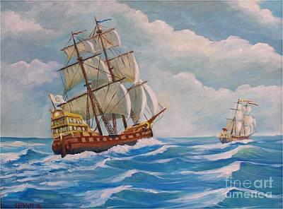 Gallion Painting - Combat Naval by Jean Pierre Bergoeing