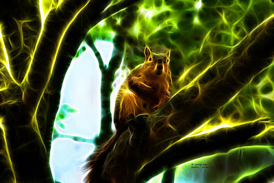 Come On Up - Fractal - Robbie The Squirrel Print by James Ahn